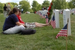 Flags on gravesites for Memorial Day